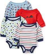 Sweet & Soft Blue & Red Stripe & Dino Long-Sleeve Bodysuit Set - Infant