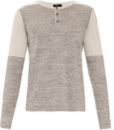 Vince Bi-colour Cotton And Cashmere-blend T-shirt