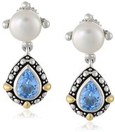 Honora Sterling Silver Freshwater Cultured Pearl and Blue Topaz Drop Earrings