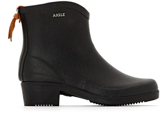 Aigle Miss Juliette Rubber Ankle Boots with Chunky Heel