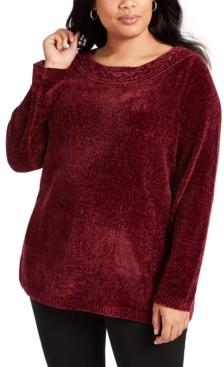 Karen Scott Plus Size Boat-Neck Chenille Sweater, Created for Macy's