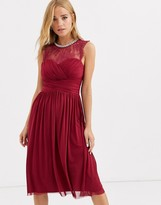 Lipsy ruched midi dress with lace yolk and embellished neck in berry
