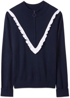 Tory Burch Performance Cashmere Ruffle Sweater