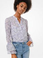MICHAEL Michael Kors Floral Georgette Smocked-Sleeve Shirt