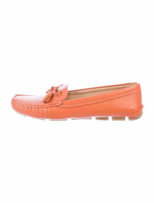 Prada Embossed Signature Logo Loafers Orange