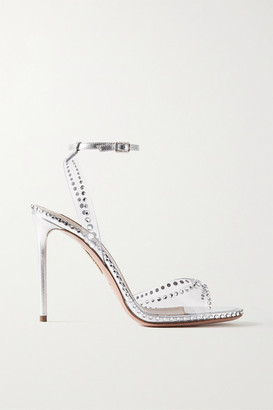 Aquazzura Dream 105 Crystal-embellished Pvc And Leather Sandals - Silver