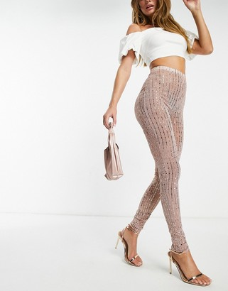 I SAW IT FIRST metallic foil mesh tapered leggings in rose gold