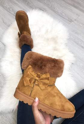 Pink Boutique Winter Princess Tan Faux Fur Lined Boot