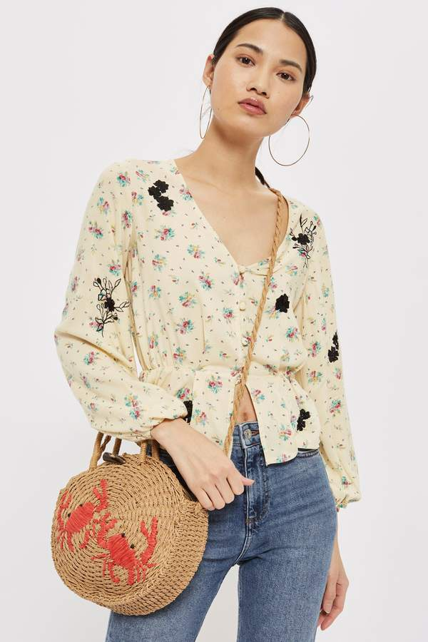 Topshop Embroidered Floral Blouse