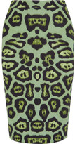 Givenchy Skirt In Green Leopard-print Stretch-jersey - Leopard print