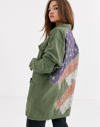 Free People Spruce military lightweight jacket-Green