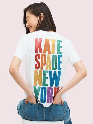 Kate Spade Rainbow Glitter Logo Tee
