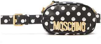 Moschino Convertible Logo-embellished Polka-dot Faux Leather Belt Bag