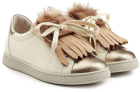 Brunello Cucinelli Leather Sneakers with Fur