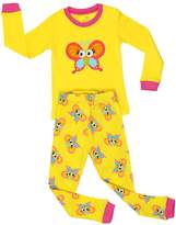 "Elowel Pajamas Elowel Little Girls ""Butterfly"" 2 Piece Pajama Set 100% Cotton 4 Toddler"