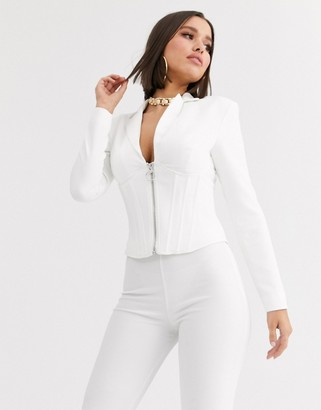 Asos Design DESIGN corset blazer with boning-White