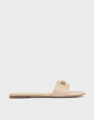 Charles & Keith Metal Bow Slide Sandals