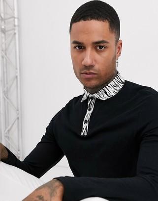Asos DESIGN long sleeve polo with woven animal print collar
