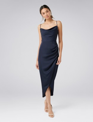 Forever New Holly Cowl Neck Midi Dress - Navy - 6