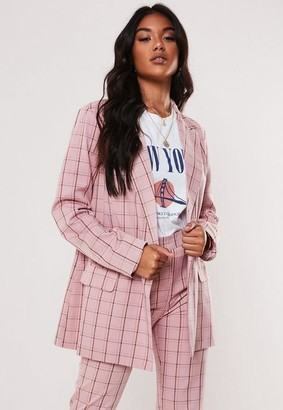 Missguided Pink Co Ord Plaid Oversized Blazer
