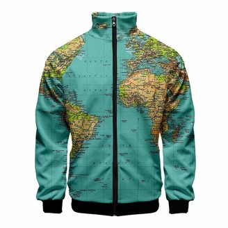 Goosun Clothing Mens Cardigan Coat Long Sleeve Zip Standing Collar Tops Jacket Fashion Autumn Winter 3D World Map Print Sweatshirt Outwear Goosun Lightweight Soft and Comfortable Sports Jacket Green