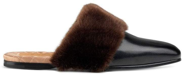 Gucci Leather and faux fur slipper
