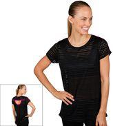 Jockey Women's Sport Mesh Stripe Crewneck Workout Tee