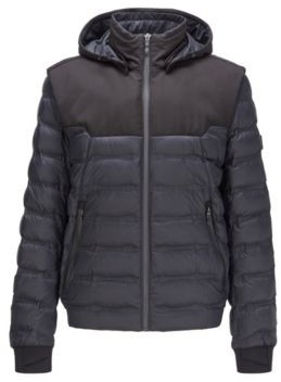 HUGO BOSS Water Repellent Down Jacket With Detachable Hood And Sleeves - Black