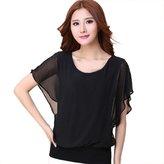 Lookatool Women's Batwing Sleeve Flouncing Chiffon Blouse T-Shirt Tops Shirt