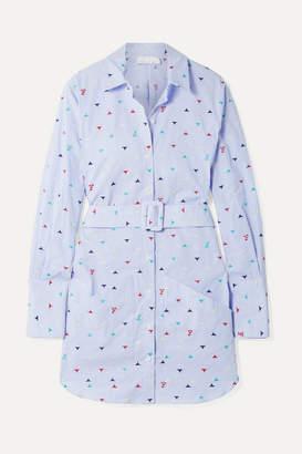 Fleur Du Mal Belted Embroidered Striped Cotton-blend Poplin Mini Dress - Light blue