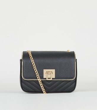 New Look Leather-Look Quilted Chain Shoulder Bag
