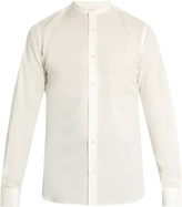Stella McCartney Double-cuff collarless cotton-poplin shirt