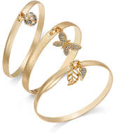 INC International Concepts Gold-Tone 3-Pc. Set Pavé Charm Bangle Bracelets, Only at Macy's