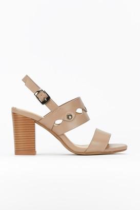 Wallis Tan Block Heel Studded Sandal