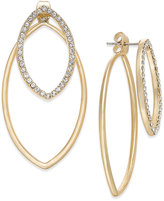 ABS by Allen Schwartz Gold-Tone Front and Back Crystal Navette Earrings