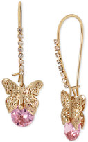 Betsey Johnson Gold-Tone Filigree Butterfly and Pink Stone Drop Earrings