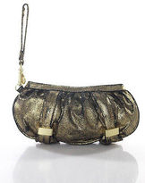 Botkier Black Gold Tone Leather Golden Hardware Clutch Handbag