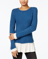 Kensie Warm Touch Ruffled Contrast Sweater