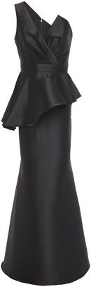 Badgley Mischka One-shoulder Faille Peplum Gown