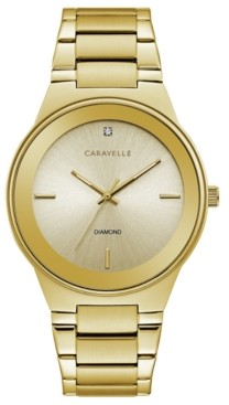 Bulova Caravelle Designed by Men's Diamond-Accent Gold-Tone Stainless Steel Bracelet Watch 40mm