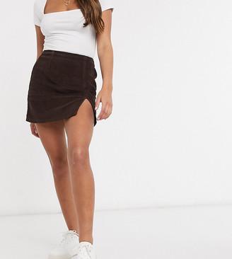 ASOS DESIGN Petite cord split hem skirt in chocolate