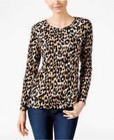 Charter Club Animal-Print Long-Sleeve Top, Only at Macy's
