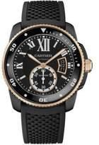 Cartier Calibre de Automatic Carbon Diver 18K Pink Gold, ADLC Stainless Steel & Rubber Strap Watch