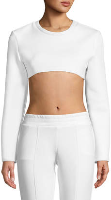 Cushnie Long-Sleeve Neoprene Crewneck Crop Top