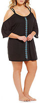 Dotti Plus Jewel Tones Cold Shoulder Tunic Coverup