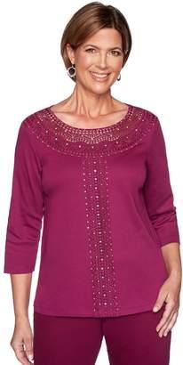 Alfred Dunner Women's Beaded & Lace Yoke Knit Top