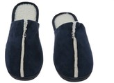 Deluxe Comfort Sunday Morning Slip-On Memory Foam House Slippers, Size 7-8 ? Warm Cozy Faux Lamb Wool Fleece Lining ? Wear Resistant Microsuede ? Durable Non-Marking Rubber Sole ? Men's Slippers, Navy Blue
