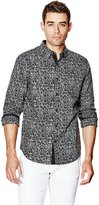 GUESS Long-Sleeve Speckle-Print Slim-Fit Shirt