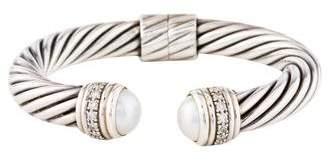 David Yurman Pearl & Diamond Cable Bracelet