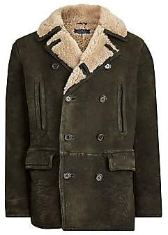 Polo Ralph Lauren Men's Shearling-Trimmed Leather Peacoat